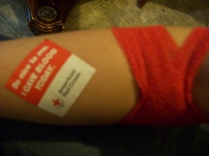 """Be nice to me. I Gave Blood Today."" :)"